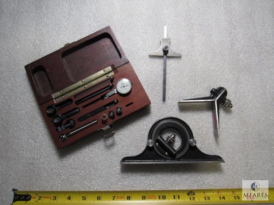 Lot Brown & Sharpe Indicator Set, Starrett 490 Protractor Level & Craftsman Ruler