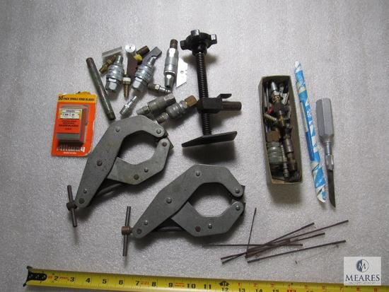 Lot Kant Twist Clamps, Air Fittings, & New Pack of Razor Blades