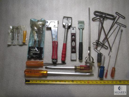 Lot various Hand Tools Pop Rivet Gun, Stapler, Screwdrivers, Mixer, Allen Wrenches +