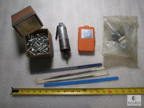Lot Rockwell air tool, New lubricator, Bolts, hacksaw & sawzall blades
