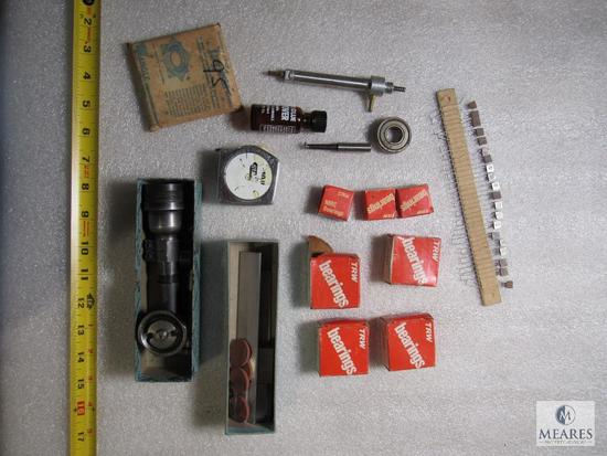 Lot TRW bearings, tape measure, right angle tool part +