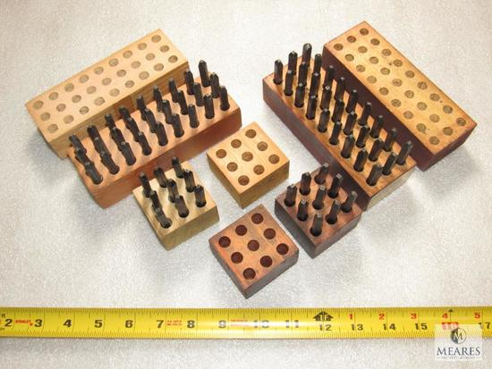 """Lot 2 Metal Punch Stamp Sets Letters & Numbers Approximately 1/4"""""""