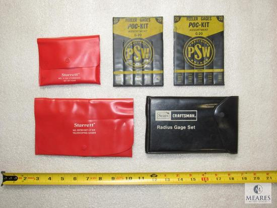 Lot PSW Feeler Gages, Starrett Parallels & Telescoping Gages & Sears Radius Gage Set