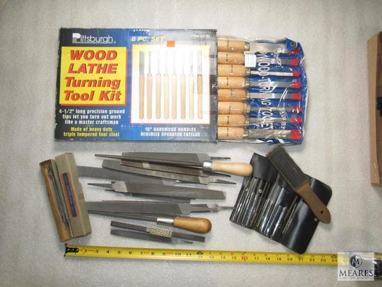 Lot Wood Lathe Turning Tool Kit (new) & Various Bastard, Round Files +