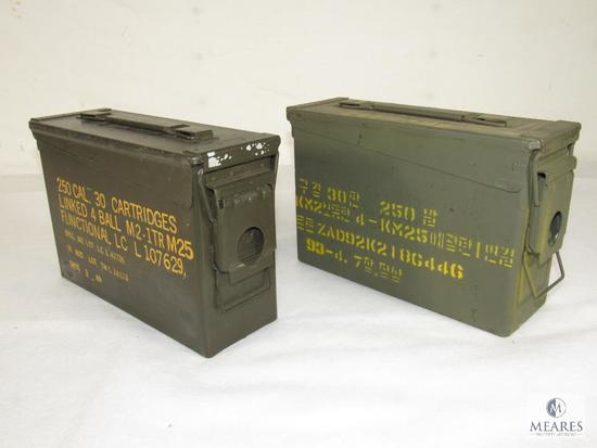 Lot 2 Metal Ammo Cans 30 Cal Sizes