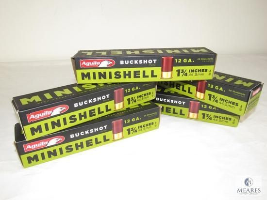 "5 Boxes Aguila Minishell 12 Gauges 1-3/4"" Shotgun Shells 100 Total"