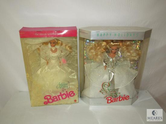 Lot 2 Barbie Dolls Happy Holidays 1992 & Wedding Fantasy 1989 New in boxes