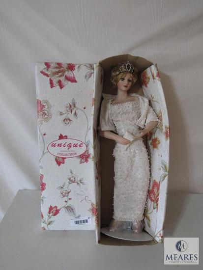 "Unique Porcelain Doll Collection 20"" Princess Diana Doll with Stand & Box"
