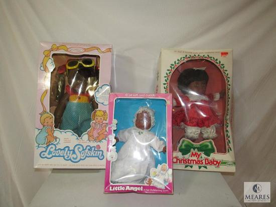 Lot 3 Baby Dolls African American Little Angel, Christmas Baby & Lovely Softskin