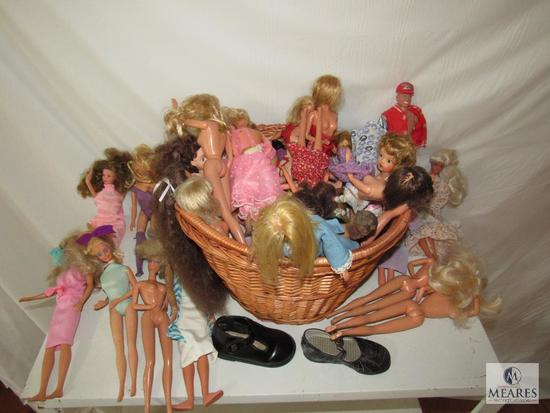 Large Lot of Barbie Dolls Mixed Lot in Basket - all opened.