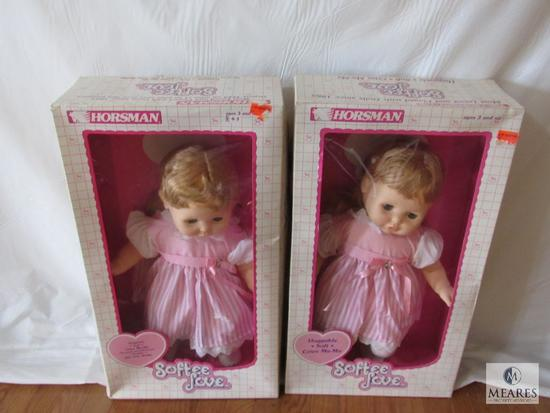 "Lot 2 Softee Love Huggable Soft Baby Dolls Cries Ma-Ma Approximately 20"" each"