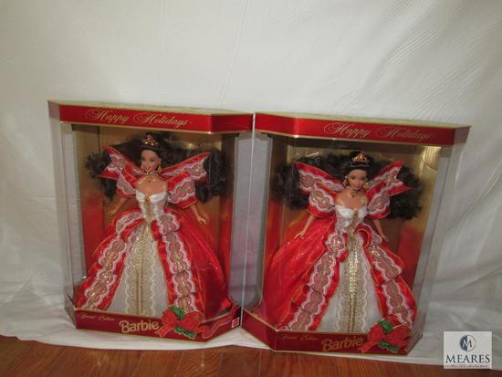 Lot 2 Happy Holiday Barbies 1997 Hallmark New in boxes