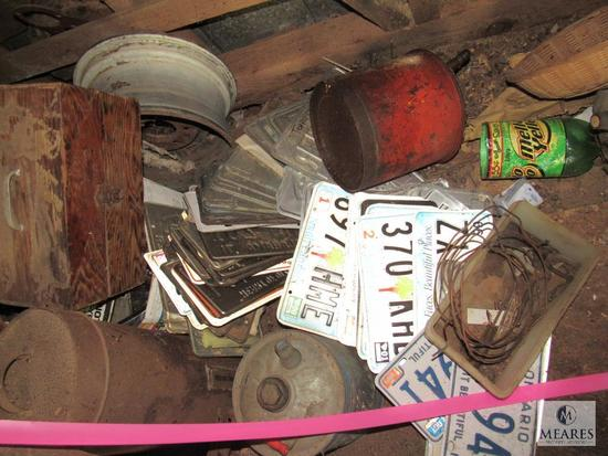Back Contents of Bldg #1- Tire Wheels, Plow Handles, Weed Eaters, Old Wagon, License Plates +