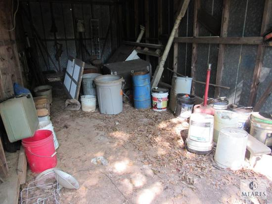 Contents Bldg#4 - Old Kerosene Heaters, Buckets, Old Trunk, Suitcase, Rear Axle, Chevy truck Grill,