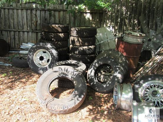 Lot Tires, Chain Link Fence Gates, Metal Drums +