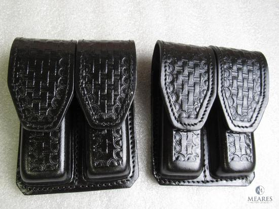 2 new Hunter leather double mag pouches fits staggered mags like Beretta 92, 96, Ruger P95, 93 Glock