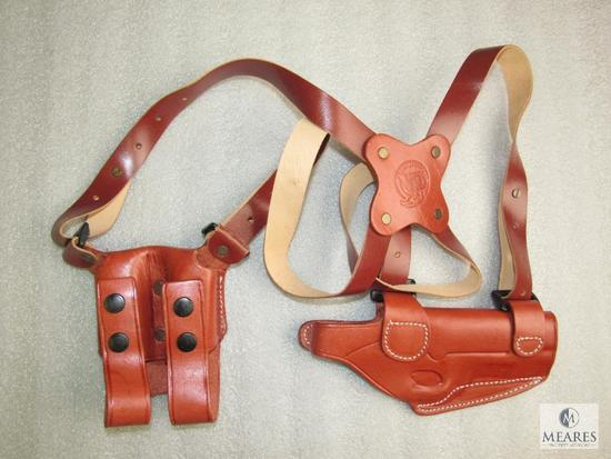 """New leather shoulder holster with mag pouch fits Colt 1911 3-5"""" barrels"""