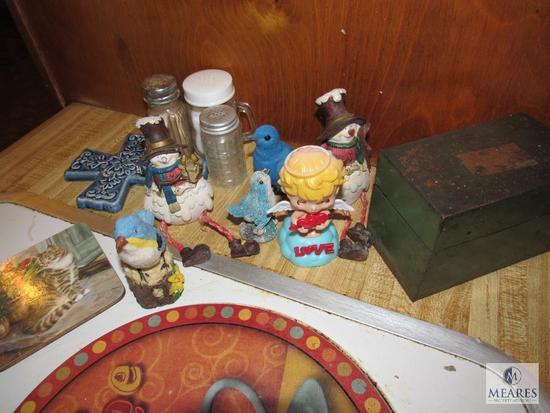 Counter lot - Salt Pepper Shakers, Bird & Snowman figurines, Stove eye covers, Teacup