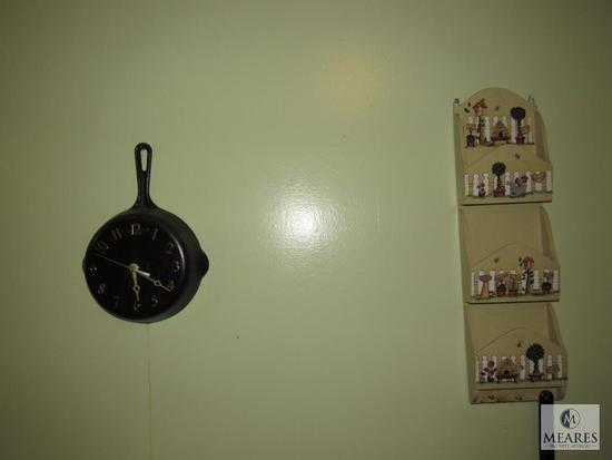 Kitchen Wall lot Cast Iron Pan Clock, Mail sorter, wood shelf with Angel Figurines