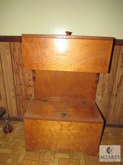 Wood Storage Cabinet with Contents Utensils & Paper goods