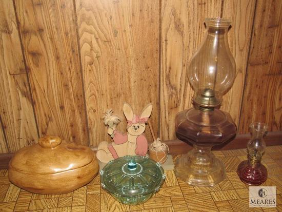 Lot Vintage Oil Lamps, Depression Glass Dish, Potato Ceramic Dish