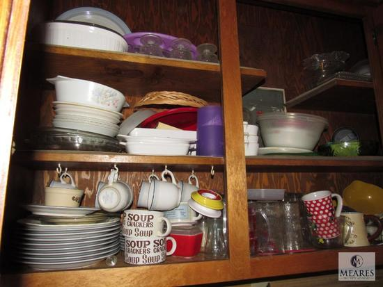 Cabinet lot Dishes, Glassware, Casserole Dishes, Plates, +