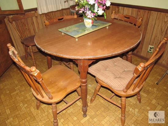 Round Wood Dinner Dinette Table and 5 Chairs