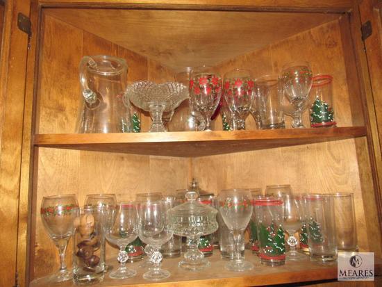 Lot Glassware Stemware and Christmas Glasses