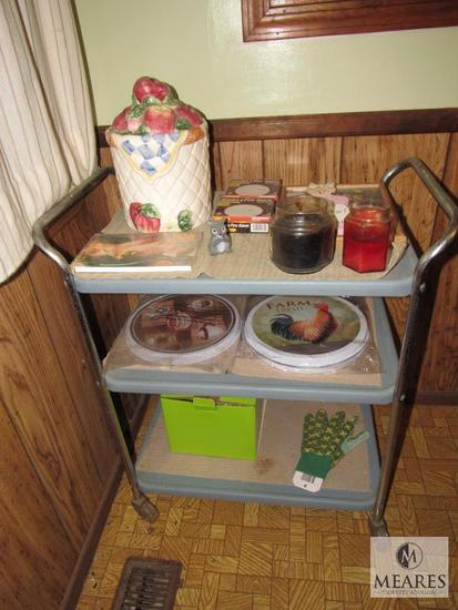 Plastic & Metal Tea Cart with Decorations, Candles, Fire Alarms, Stove Eye Covers +