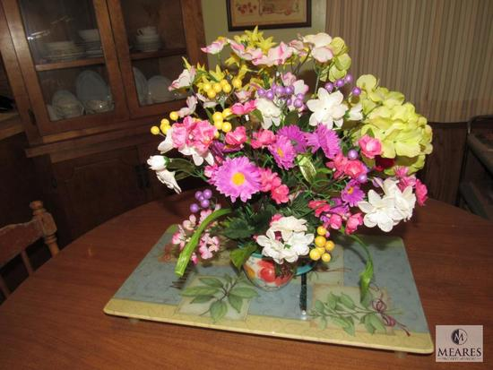 Glass Floral Tray and Ceramic Mug & Faux Flowers