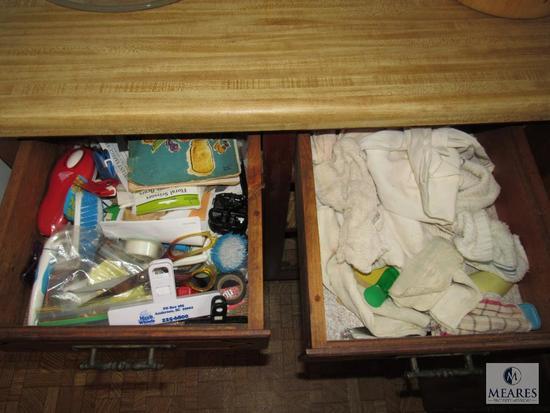 Lot Kitchen Drawers - Utensils, Pot Holders & Towels, Silverware, Junk Drawer +