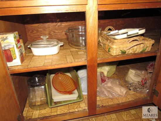 Cabinet lot- casserole dishes, Mixing Bowls, Canister +