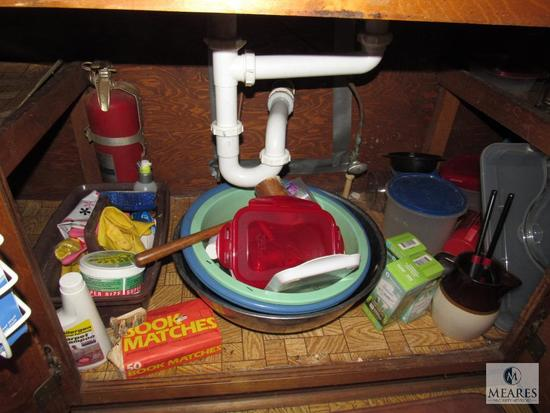 Cabinet lot- Mixing Bowls, Lightbulbs, Plastic Containers, Matches, +