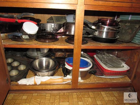 Cabinet lot- Pots, Pans, Rolling Pin, Tins, Grater, +