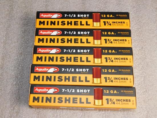 "Lot 100 Aguila Minishell Shotgun 12 Gauge Shells 1-3/4"" 7.5 Shot"