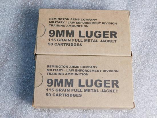 Lot 100 Rounds Remington 9mm Luger 115 Grain Ammunition