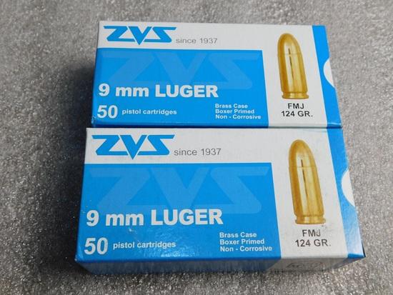 Lot 100 Round  ZVS 9MM Luger FMJ 124 GR. Ammunition