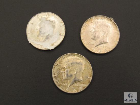 Lot (3) 1968 Kennedy Half Dollars Coins