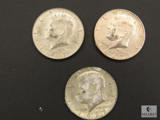 Lot (3) 1967 Kennedy Half Dollars Coins