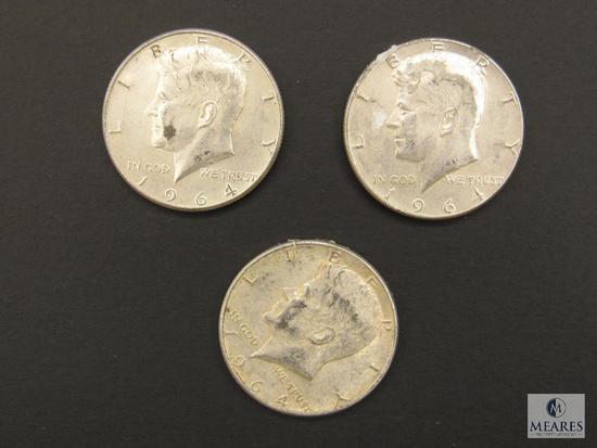 Lot (3) 1964 Kennedy Half Dollars Coins 90% Silver