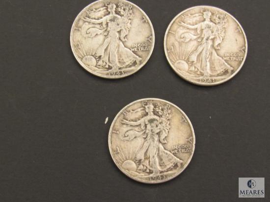 Lot of (3) 1940s Walking Liberty Half Dollars