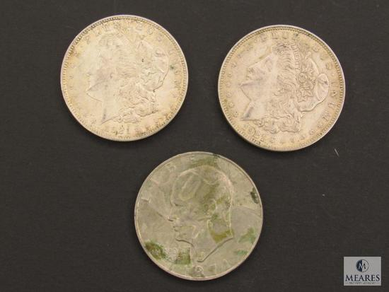 Lot of (2) 1921-P Morgan Silver Dollars and (1) 1971 Eisenhower