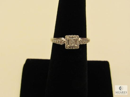 Ring marked 10K white gold possible Diamond stones