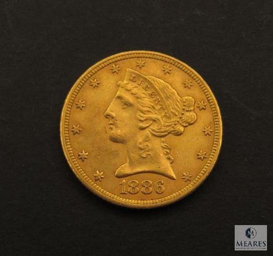 1886 US Liberty Head Five Dollar Gold Piece