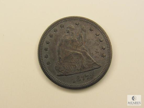 1877 Seated Liberty Quarter and 1945 French 50 Centimes