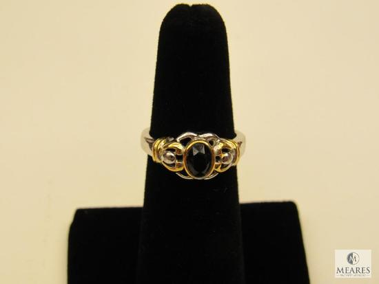Ring - possibly Sterling with Onyx like Stone - Size 6
