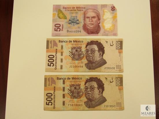 3 pieces of Mexican Pesos - (2) 500 and (1) 50