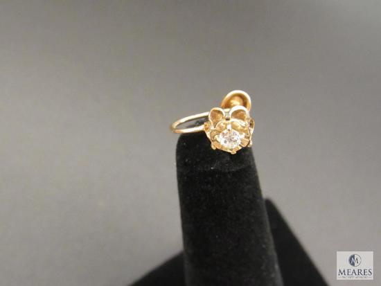 Screw-post Yellow Gold Earring marked BDA 10k - possible Diamond