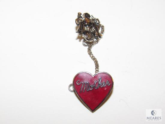 """Two-piece """"Mother"""" enamel Heart Pin w/ Army Insignia - possible WWII era"""