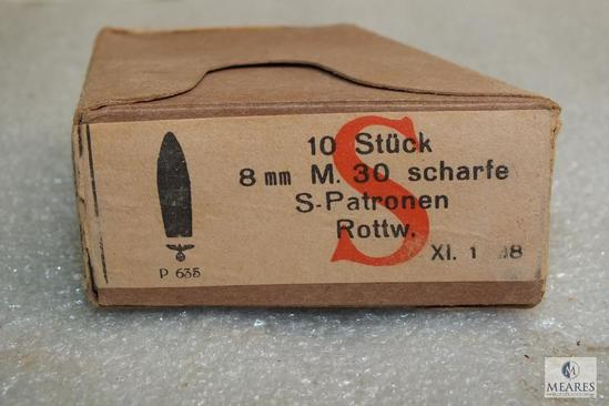 Rare 10 rounds 8x56r M30 ammo enbloc magazines fits Steyr M95 Nazi marked head stamp 1938 production